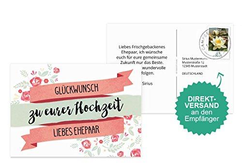 r Hochzeit Banner, Individuelle Glückwünsche zur Hochzeit | 30 Karten - (Format: 148x105 mm) Farbe: Weiß | Karten-Paradies.de ()