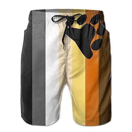 LGBT Bear Pride Flag Men's Summer Beach Quick-Dry Surf Swim Trunks Boardshorts Cargo Pants M -