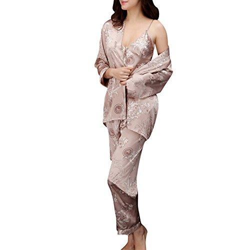 Coppia Pigiama Kimono Seta Inverno Manica Lunga Satin Accappatoio Cintura Cammello (Donne)