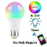 WiFi-Smart-Leuchtmittel, RGB-Leuchtmittel, dimmbar, weich, warmweiß, Kompatibel mit Alexa, Fernbedienung durch iOS Android Smartphone (mit Glühbirnensockel-Adapter optional), 1 Bulb, Round, 4.50W