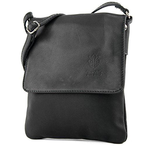 modamoda de - ital. Ledertasche Schultertasche Umhängetasche Citytasche klein Damen T34, Präzise Farbe:Schwarz (Handtaschen Schwarz Stoff Body Cross)