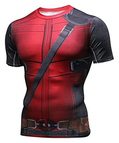 PIZOFF Unisex 3D Druck Kurzarm T-Shirt Muskelshirt Superhero Kampfanzug Deadpool AC109-04-M