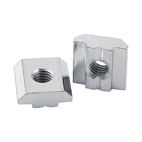 Akozon Rainure en T 50pcs Nickel Enduit Acier au Carbone Coulissant T-slot écrou pour Profil en Aluminium(EU 30-M5)