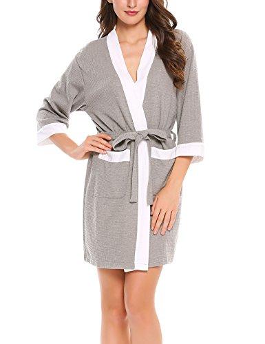 22dfceca7d9532 HOTOUCH Damen Bademantel Morgenmantel Waffel Saunamantel Kimono Schlafanzug  Nachthemd Mit V Kragen Grau
