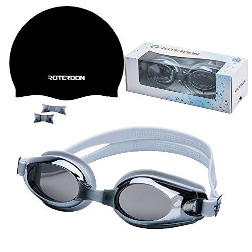 Roterdon TaucherbrilleBadekappe für Schwimmbrille DamenSchwimmbrille Testpassend für Erwachsene JuniorUV-Schutz Swimrun