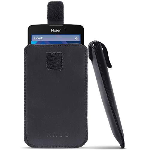 NAUC Leder Tasche für Haier Phone L53 Pull Tab Sleeve Hülle Cover Schwarz Case Schutzhülle