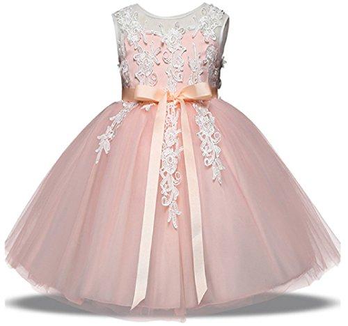AGOGO Mädchen Blumenmädchenkleid Kinder Spitze Stickerei Schicht Hochzeitskleid Tüll Festkleid Abendkleid Partykleid Gr. 98 104 116 128 134 (104, Rosa)