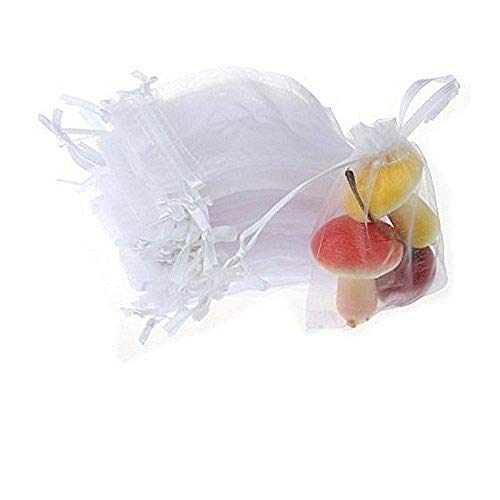 JZK® 50 x Klein weiß Organza Saeckchen Süßigkeiten Beutel Geschenk Schmuckbeutel Geschenk Bags mit Drawstring, für Hochzeit Geburtstag Taufe Party Babyparty Baby Shower Gartenparty, 9 x 7cm
