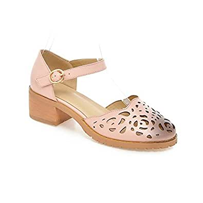 AgooLar Women's Low Heels Solid Buckle Round Closed Toe Pumps Shoes, Pink, 41