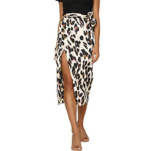 SHOBDW Mode Damen Sexy England Stil Leopard Drucken Split Bandage Abendgesellschaft Rock Frauen...