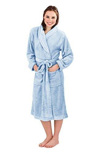 Donna Loungeable Boutique Lungo Pile Vestaglia Morbido Vestaglia Dusky Blue