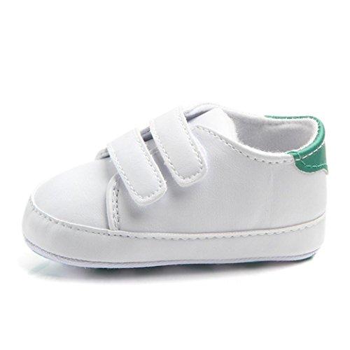 Turnschuhe Babyschuhe Neugeborenen Leder T-Strap Schuhe Sportschuh Jungen Lauflernschuhe Mädchen Krippeschuhe Krabbelschuhe Streifen-beiläufige Wanderschuhe LMMVP (Grün, 12(6-9Monat))