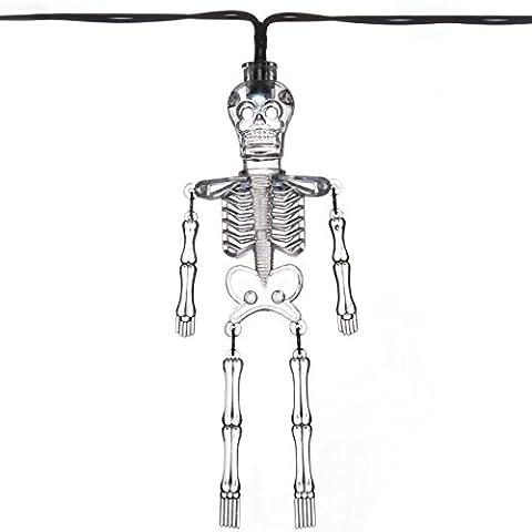 WeRChristmas Acrylic Skeleton Lights Halloween Decoration with 10 White LED - Transparent