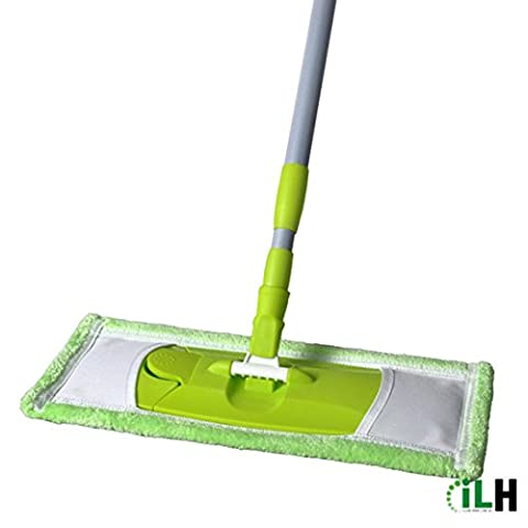 Hansee - Mops Adjust Butterfly Clip Handle Large Surface Floor Microfiber Mop Cleaning Supplies (B)