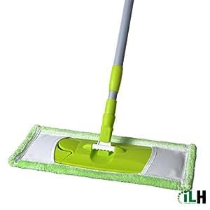 Hansee–Mocio regolabile con clip a farfalla e manico, superficie larga, in microfibra, per la pulizia del pavimento, Microfibra, Green, B