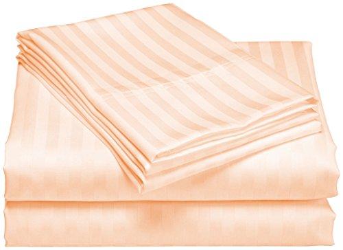 scalabedding 100% ägyptische Baumwolle 6Stück 600TC 45,7cm Deep Pocket-Bettlaken-Set-Cal King Pfirsich Streifen - Cal-king-6 Stück