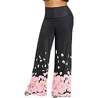 JUTOO Pantalones Anchos Sueltos de Gran tamaño con Estampado de Rosa  Pantalones de Pierna Ancha Cintura 053caf664ec3