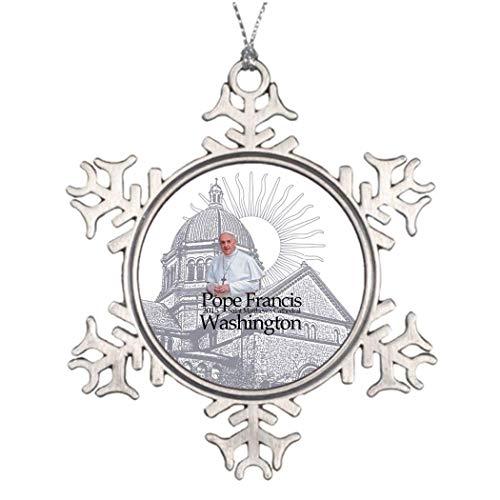 Monsety Papst Francis Washington, Besuch 2015 Remembered Christmas Clearance Heiliger Weihnachtsbaum Hängende Schneeflocke Ornamente Weihnachtsbaum Urlaub Geschenk 2018 (Dekorationen Schneeflocke Clearance)