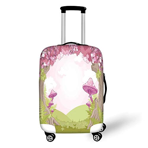 Travel Luggage Cover Suitcase Protector,Mushroom Decor,Cherry Blossom Trees in Fairytale Land Forest Surreal Fantasy Wonderland Image,Green Pink Brown,for TravelXL 29.9x39.7Inch -
