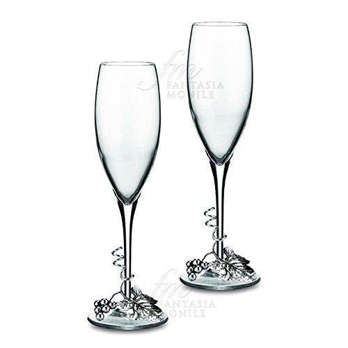 Paar Sektgläser souveränen Kristall Dekor Trauben Blättern Laminat Silber Geschenk Hochzeit 2027