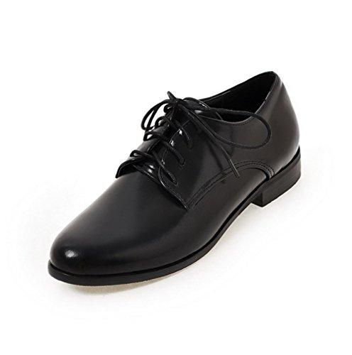 VogueZone009 Femme PU Cuir à Talon Bas Rond Couleur Unie Lacet Chaussures Légeres Noir