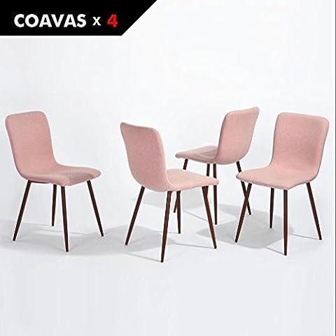 4er Stuhl-Set Esszimmerstühle Coavas Stoff Kissen Küche Stühle mit Soliden Metall-beinen für Esszimmer, Rosa