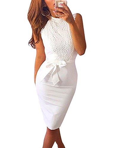 Yieune Sommerkleid Damen Spitze Abendkleid Mini Etuikleid Elegant Weiß Partykleid Knielang Kleider...