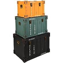 ts-ideen Juego set de tres Containers estantería cómoda caja cofre de diseño estilo retro shabby industrial, color naranja, verde y negro