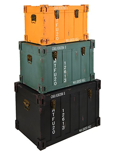 Set di 3 comodi boxes container - colore: nero giallo verde - stile: design industriale look