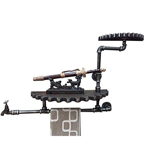 FAFZ Wandregal Eisen-Wasser-Rohr-Rohr-Industrielle Art-Wand-Speicher-Wand-Regal-Gang-Behälter-Pub-Retro- Wand-Dekor Wandhalterung Ablage (Wandhalterung Gang 3)