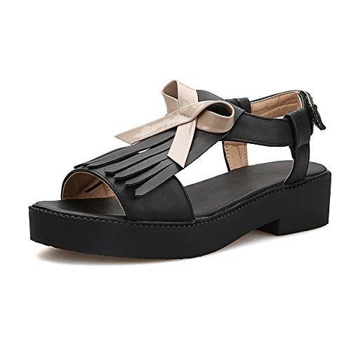 AllhqFashion Damen Niedriger Absatz Weiches Material Gemischte Farbe Schnalle Sandalen Schwarz