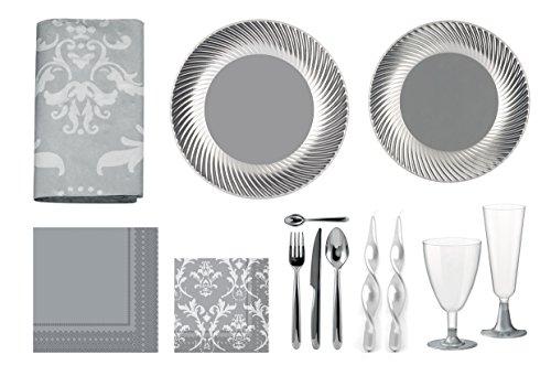 GIRM - Tavola Silver 01B - coordinati da tavola argento, piatti piani argento, piatti frutta argento, flute con base argento, calici con base argento, tovaglia damascata argento, tovaglioli argento