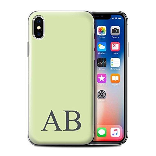 Personalisiert Pastell Monogramm Hülle für Apple iPhone X/10 / Grünes Design / Initiale/Name/Text Schutzhülle/Case/Etui Grünes