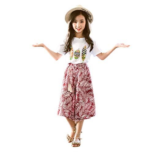 JERFER Baby Maedchen Set Kleidung 2PCS Kleinkind Outfits drucken T Shirt Top + Wide Leg Pants Set