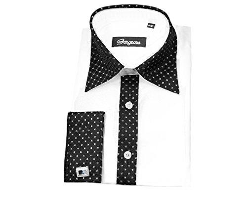 Gorgeous Collection Geschenkset für Jungen, für besondere Anlässe, mit Hemd, Krawatte, Manschettenknöpfen und Einstecktuch Gr. 7-8 Jahre, weiß/schwarz