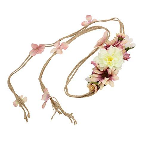 MagiDeal Boho Dame Mädchen bunte Blumen Stirnband Haar Girlande - Beige, 140cm