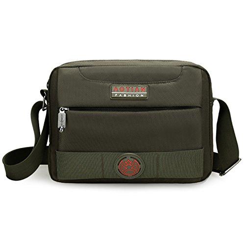 Outreo Schultertasche Herren Messenger Bag Vintage Umhängetasche Retro Kuriertasche Sport Taschen Schule Herrentaschen für Tablet Gr¨¹n