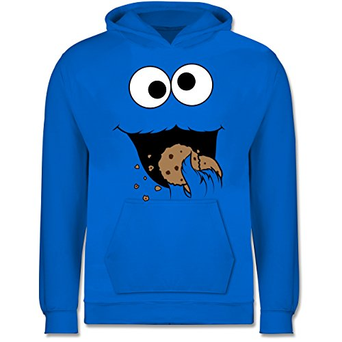 Kind Hoodie Monster Kostüm - Shirtracer Karneval & Fasching Kinder - Keks-Monster - 9-11 Jahre (140) - Himmelblau - JH001K - Kinder Hoodie