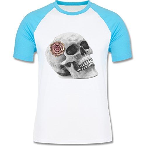 Rockabilly - Totenkopf Rose Vintage Skull - zweifarbiges Baseballshirt für Männer Weiß/Türkis