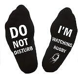 ECMQS Unisexe Nouveauté Lettre Drôle Ne Pas Déranger Je Regarde Le Rugby Fou Chaussettes En Coton