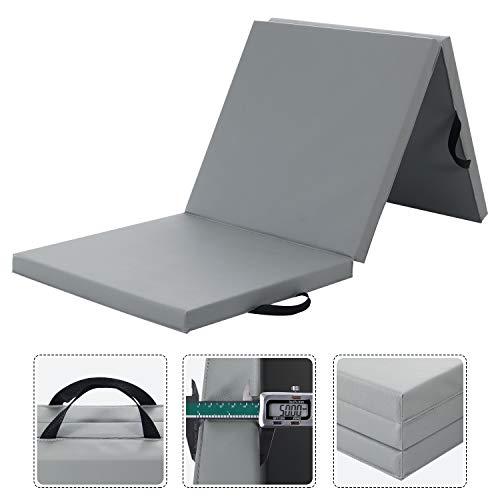 WolfWise 180x60cm Weichbodenmatte, Klappbare Gymnastikmatte Turnmatten für Zuhause, rutschfeste Sportmatte Geschenke für Kinder & Erwachsenen, Grau