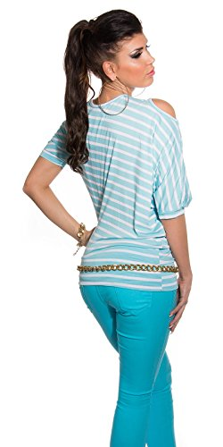 Koucla Damen Fledermaus Shirt mit offenen Schultern und asymmetrische Ärmel gestreift | Maritim Top Langarmshirt Hellblau