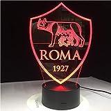 Luce Notturna,Controllo Remoto As Roma 3D Lampada Led Usb 3Aa Batteria Night Lamp Con 7 Colori Cambia Telecomando Interruttore Lava Lamp Decorazioni Regalo Per Fa
