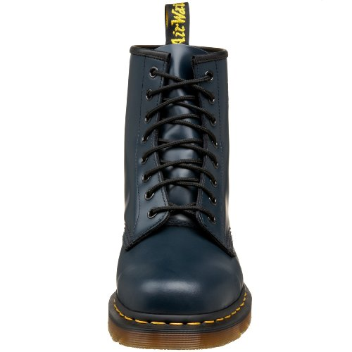 Dr. Martens Womens 1460 Black Patent Lamper Boots Navy Smooth Leather