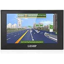 Navegador LESHP GPS para Coche 5'' Pantalla Táctil WinCE con FM 8GB/128M Actualización Gratuita de Mapa de Europa por toda la Vida mejorando la batería