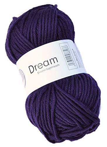 Gründl Laine mérinos Dream FB. 42 Prune/Violet pour aiguilles 6-7 à tricoter & Crochet