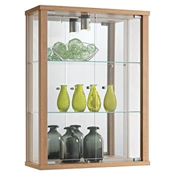 ENTRY PLUS Wall Mounted Lockable Glass Display Cabinet In Various Colours,  Wood, Black Oak White