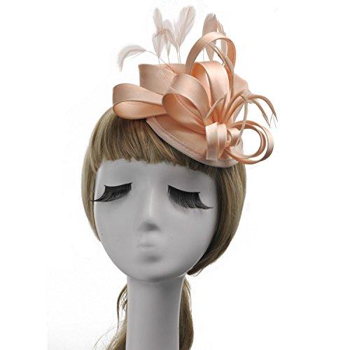 YUN MY GIRL Hüte, Damen schicke Braut Schleier glamourösen Hut Anzug Hut Hut Kostüm Hochzeit Derby Tee Partei cocktail Hut Haarnadel Kopfschmuck Zubehör (Color : Rosa)