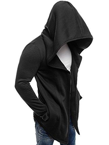 ozonee Felpa uomo felpa con cappuccio sweat maglione sportivi Pullover stile j. 2040 NERO_js-2040