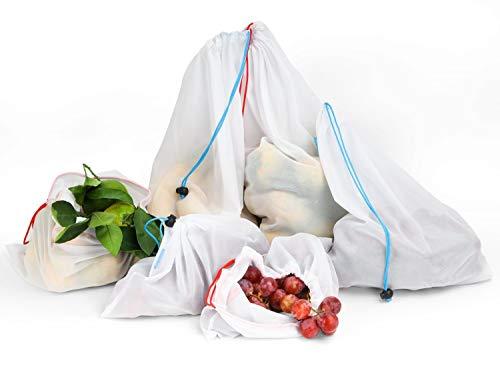 Nuovoware wiederverwendbare Einkaufstüten, waschbar Obst Gemüse Produzieren Netztaschen mit Zugschnüre für Einkaufen, 6 Stück (verschiedene Größe M , L, XL)